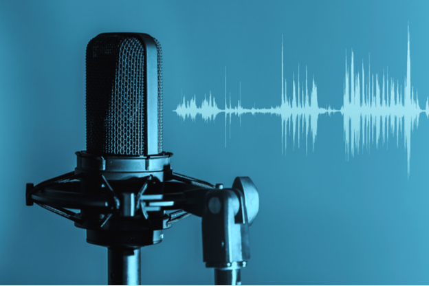 Microphone with sound bars background